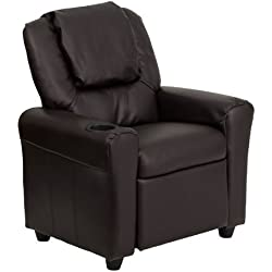 Flash Furniture Contemporary Brown Leather Kids Recliner with Cup Holder and Headrest