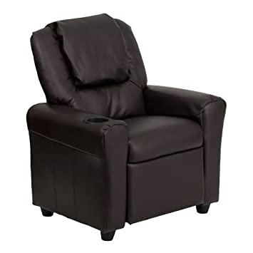 Great Flash Furniture Contemporary Brown Leather Kids Recliner With Cup Holder  And Headrest