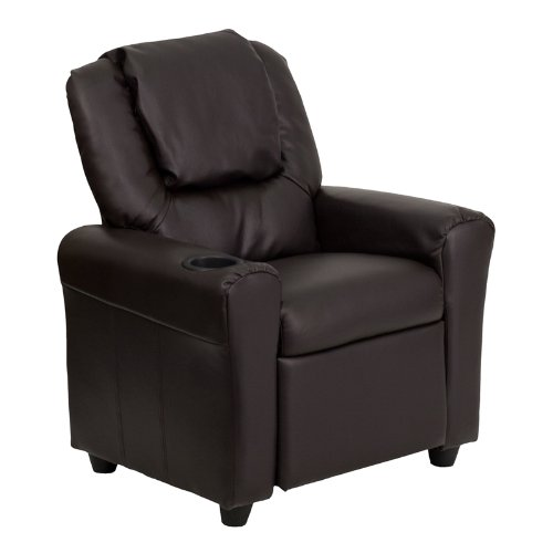 Flash Furniture Contemporary Brown Leather Kids Recliner with Cup Holder and Headrest -