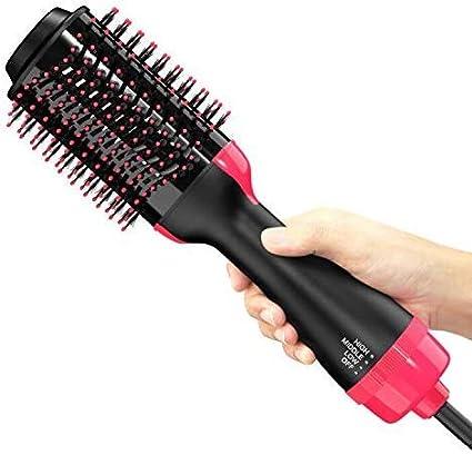 Peine de aire caliente,cepillo de alisado de iones negativos 3 en 1 y peine de cabello rizado,secador de cabello ovalado multifunción y peine de ...
