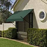 Modern Designer Awning w Easy Installation Kit - 4-Feet Width (Forest Green)