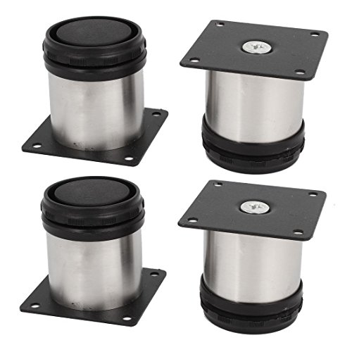 4pcs 50x50mm Adjustable Support Furniture Legs Kitchen Cabinets Stainless Steel Round Cabinet Feet