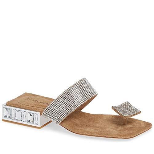 Irregular Choice Suede Heels - Jeffrey Campbell Alise Rhinetone Embellished Toe Thong Sandal Nude, 7.5