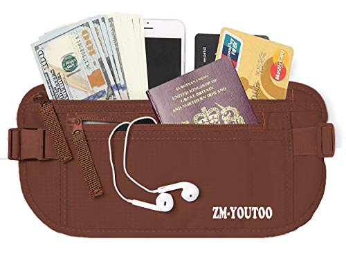ZM-YOUTOO Travel Money Belt RFID Blocking Hidden Waist Passport Wallet Money Pouch Waterproof Security Pouch for Passport, Mobile Phone, Cards for Man Women (Coffee)