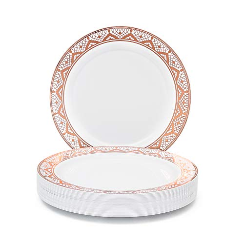 (50 Pack Rose Gold Plastic Plates by Harlita - Fancy Disposable Party Plates, Premium Plastic Dinner Plates for Wedding, Elegant White with Rose Gold Star Rimmed Heavy Duty Plastic 10.25 Inch Plates)