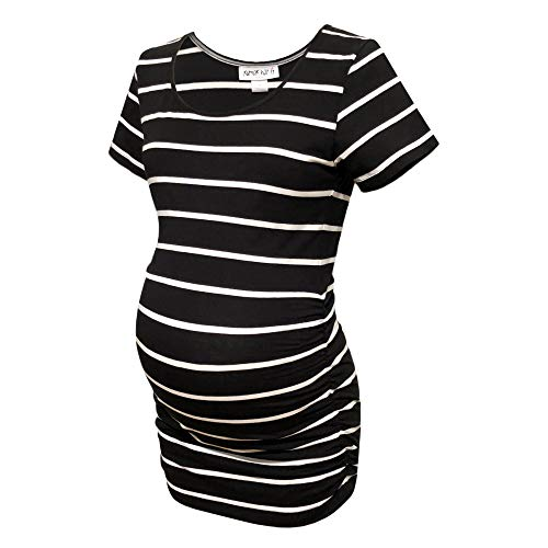 (RUMOR HAS IT Maternity Ruched Sides Scoop Neck Short Sleeve T-Shirt Top (Available in Plus Sizes) (Small, Black/White))