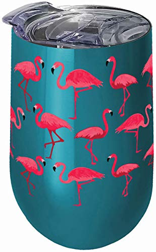 Spoontiques 16966 Flamingos Stainless Steel Tumbler, 16 ounces, Teal