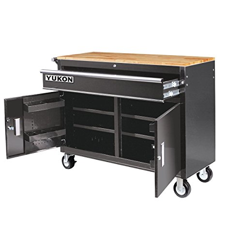 46 in. Mobile Storage Cabinet with Wood Top Tool Cart Workbench (Bench Cabinets Garage & Work)