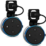 Outlet Wall Mount Stand for Home Voice Assistants Echo Dot 2nd Generation Hanger Holder Case Bracket, Space Saving Accessories Without Messy Wires or Screws (AMM001-2B), 2 Pack, Black by WALI
