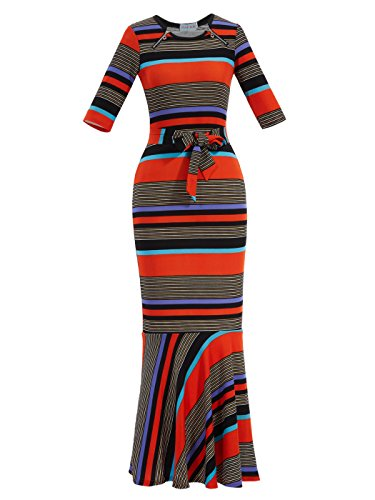 Young17 Half Sleeve Contrast Color Casual Striped Patchwork Mermaid Maxi Party Dress with Bow tie