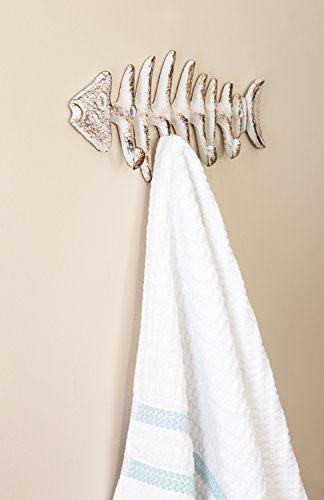 """Decorative Fish Bones Wall Mount Towel Rack by Comfify - Stylish Cast Iron Hanger w/ 4 """"Fish"""" Hooks - Includes Screws and Anchors - in Antique White"""