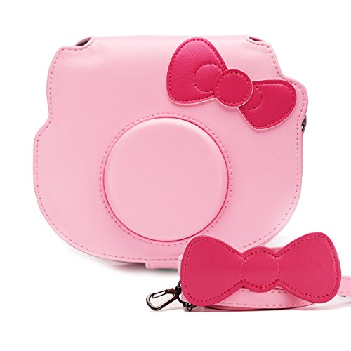 HelloHelio Mini Hello Kitty Instant Camera Case for Fujifilm Instax Cameras, [Exact-Fit] Pink Kitty Bowknot Bag for INS Mini KIT CHEKI Camera (2014-2019) - Pink (The Best Polaroid Camera 2019)