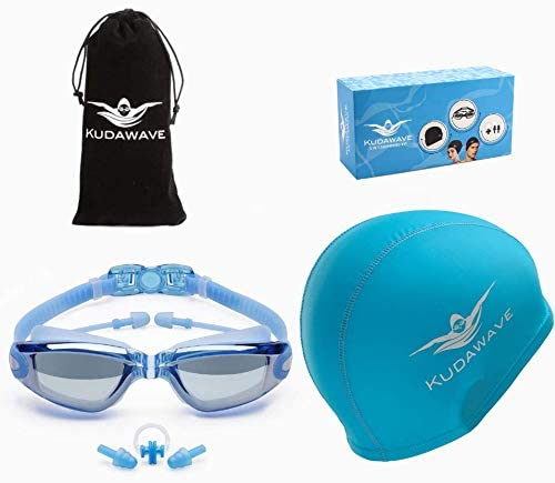 KUDAWAVE 3 in 1 Swimming Goggles | Swimming Cap for Men/Women | Anti-Fog UV Protection Mirrored Wide Vision | Ear Plugs | Adult Swim Goggles | Teens/Kids Swim Googles | Swimming Glasses