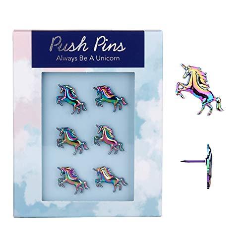 Rainbow Creative Unicorn Push Pins Novelty Decorative Thumb Tacks Set 6pcs Metal Marking Drawing Thumbtacks for Photos Wall, Maps, Bulletin Board, Corkboards, Gift Idea (Rainbow Unicorn)