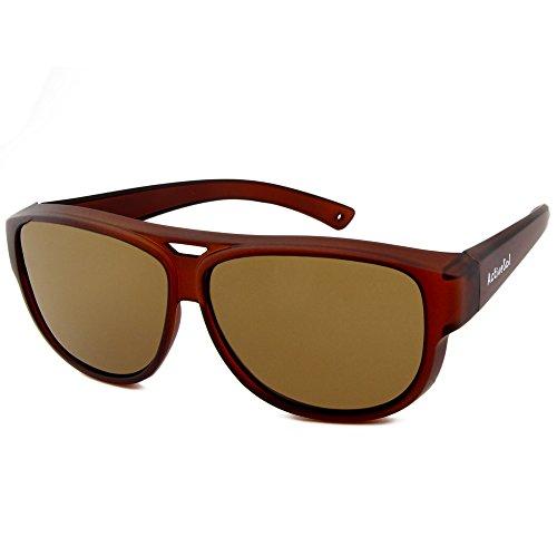 24 aviador de protección SOBREGAFAS Marrón sol polarizadas Sol SOL gramos con Sobregafas de UV400 DE diseño Gafas Active de 8aqfvOn