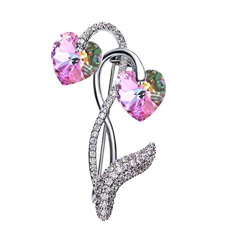 Mondora Women's Elegant Love Heart Prom Brooch Pin Cubic Zirconia Vitrail Light Made with Swarovski Crystals