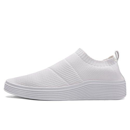 Piaoliangg Men Casual Shoes Men Breathable Knitting Canvas Platform Shoes White - Shopping Dunedin