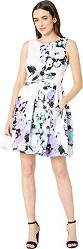 Dress Lilac Floral - Taylor Dresses Women's Sleeveless Floral Print Fit and Flare Dress, Ivory Lilac, 10