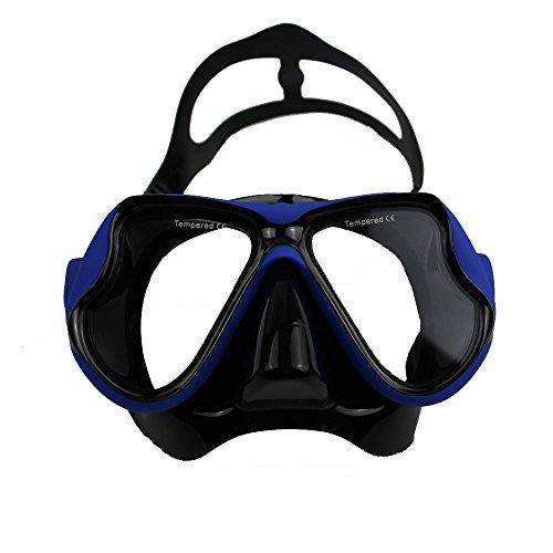 Masque de plongée masque tuba de plongée Lunettes de natation anti-buée, Verres en verre trempé, Bleu