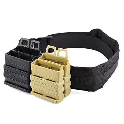 Clips And Mags - FenglinTech Clip Mags Holder, Clip Magazine Pouch Quick Pull Box and Belt Kit for Nerf Party - (Khaki and Black)