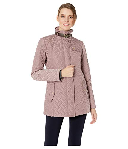 Cole Haan Women's Essential Quilted Zip Front Jacket with Faux Leather Collar Belt and Piping Details Mauve X-Small