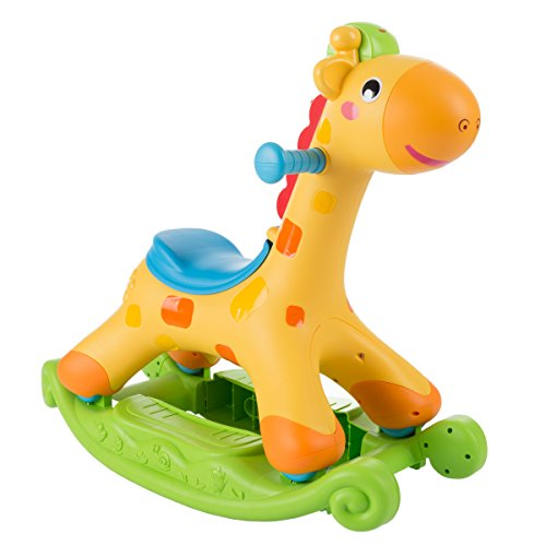 Hey! Play! 80-HM831605 Rocking Horse Toy for Children-Can Be a Rocker Or Roll and Push and Ride-Helps Develop Strength, Balance-Fun for Boys and Girls, Yellow by Hey! Play!