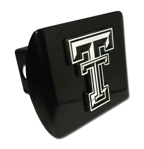 (Texas Tech Red Raiders Black Metal Trailer Hitch Cover with Chrome Metal Logo (For 2