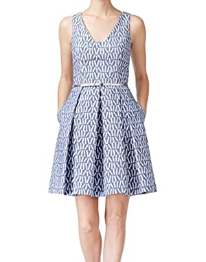 Womens Belted Fit & Flare Print Tea Dress Blue 8