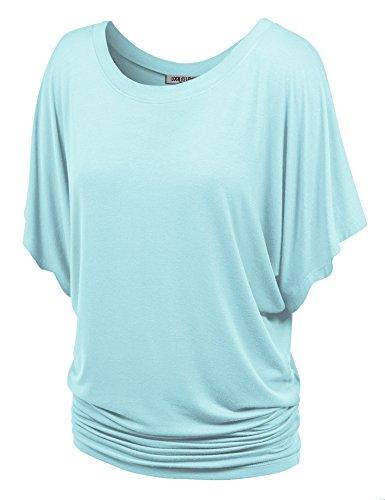 - WT742 Womens Boat Neck Short Sleeve Dolman Drape Top XS Light_Blue