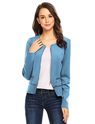 (Zeagoo Women's Casual Zipper Cardigan Blazer O Neck Slim Fitted Office Jacket (XL, Blue))