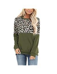EISHOW Women Casual Leopard Print T-Shirt Crewneck Long Sleeve Loose Pullover Sweatshirt Patchwork Shirts Tops Blouse