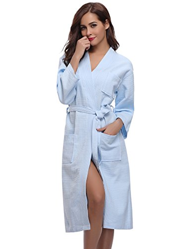 Aibrou Unisex Vestaglia Lunga in Cialda di Cotone 100% Accappatoio Leggero Vestaglia Elegante da Donna Pigiama da Notte con Cintura per Nozze Hotel Sauna Blu