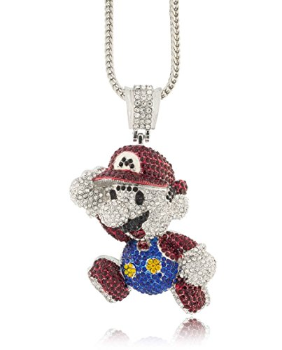 Hip Hop Jewels Iced Out Large Silver Super Mario Bros Pendant w/ 30