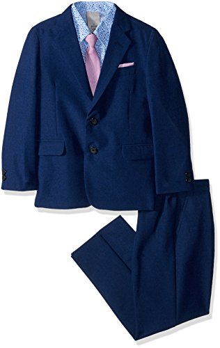 Kenneth Cole Boys' Toddler' 4-Piece Dress Suit Set, Heather Academy Blue, 2T