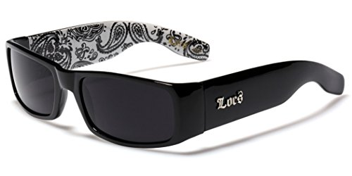Locs Original Gangsta Shades Men's Hardcore Dark Lens Sunglasses with Bandana Print - Black & - Designer Cheap Glasses Uk
