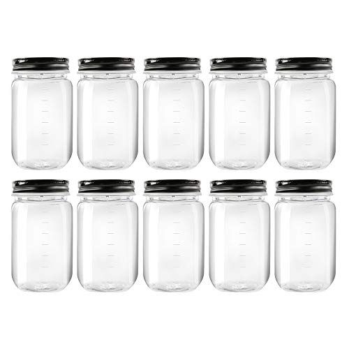 Novelinks 16 Ounce Clear Plastic Jars with Black Lids - Refillable Round Clear Containers Clear Jars Storage Containers for Cosmetics, Kitchen & Household Storage - BPA Free (10 Pack)
