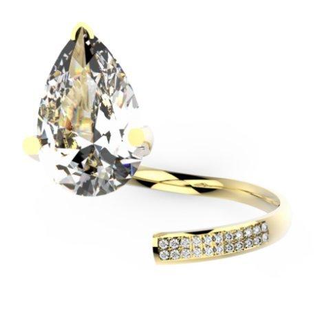 ZIGZAG PEAR Bagues Or Jaune 18 carats Saphir Blanc 0,6 Rond
