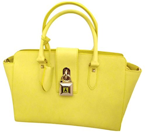 Borsa Patrizia Pepe, in pelle saffiano, colore Shiny Yellow