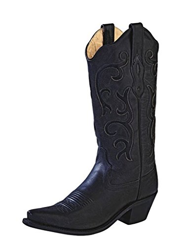 Old West Black Womens All Over Leather 12in Snip Toe Stitch Cowboy Boots 8.5 B