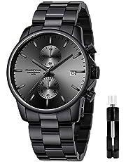 Orologi da uomo in acciaio inox e metallo, stile casual, impermeabile, cronografo al quarzo, data automatica, lancette colorate