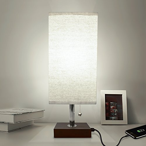 (Bedside Table Lamp USB, Aooshine Modern Desk Lamp, Solid Wood Nightstand Lamp with Unique Shade and Havana Brown Wooden Base, Ambient Light and Useful USB Charging Port Perfect for Bedroom or Office)