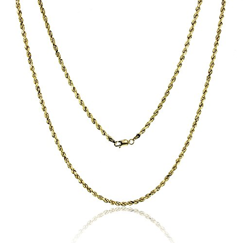 14k Yellow Gold Diamond Cut Hollow Rope 3.00MM 021 20'' Chain by Decadence