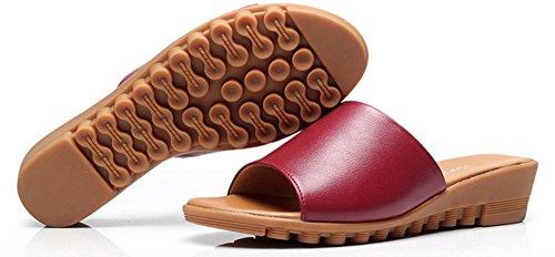 Rouge Chaussures Bout Fille Plates Femme Vineux Plage Mules Mode Aisun Ouvert qCIzwI