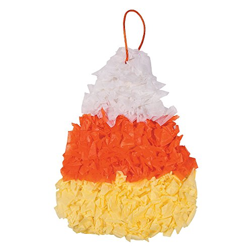 Fun Express - Candy Corn Tissue Crinkle CK-12 for Halloween - Craft Kits - Hanging Decor Craft Kits - Tissue Paper Crafts - Halloween - 12 -