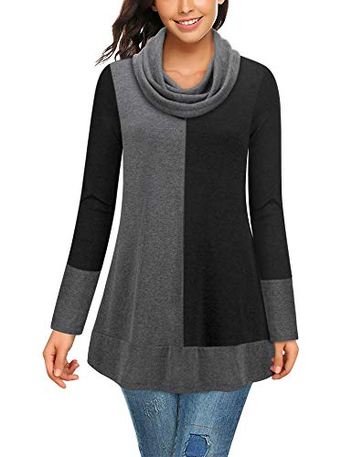 Bebonnie Ladies Tops, Women's Long Sleeve Cowl Neck Jersey Patchwork Casual Winter Tunics Top Ladies A-Line Flowy Blouse Tunic Tops for Leggings for Women (X-Large, Black Grey)