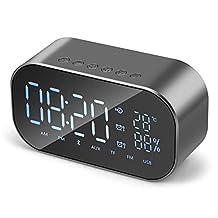 Digital Alarm Clock Speaker, TechCode Portable Large Mirror LED Dimmable Display Speaker Stereo Subwoofer w/HD Sound Mic Handsfree Calling TF Card Slot Audio Alarm Clock for Home Office Bedroom(Grey)