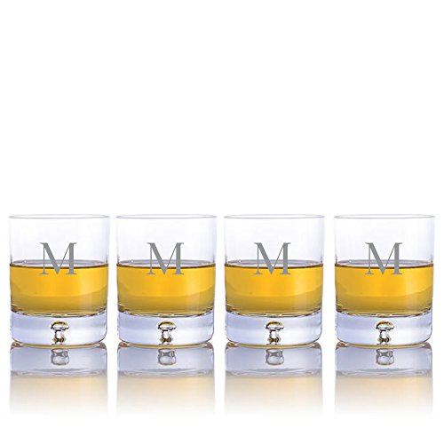 (Personalized Ravenscroft Lead-free Crystal 4 pc Taylor DOF Whiskey Glasses Engraved & Monogrammed - Great for Groomsmen or Home Bar)