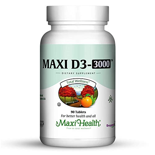 "Maxi Health Natural Vitamin D3 -""3000 IU"" - Nutrition Supplement - 90 Tablets - Kosher"