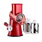 Pasutewel Vegetable Mandoline Slicer, 3 Stainless Steel Drum Blades With Strong-Hold Suction Base Fruit Cheese Carrot Potato Cutter Chopper Shredder (red)