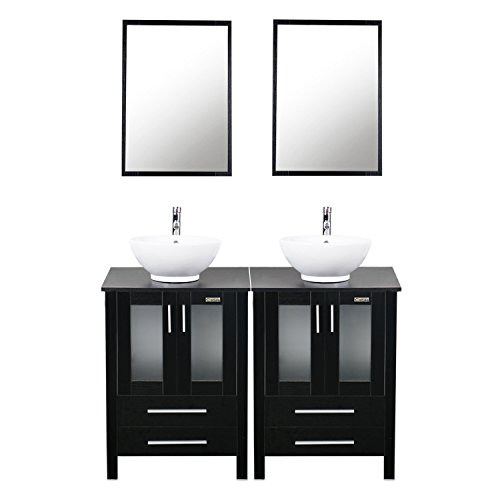 24' Bathroom Sink Basin (48 inches Modern Bathroom Vanity and Sink Combo Stand Cabinet and White Round Ceramic Vessel Sink with Overflow and Chrome Bathroom Solid Brass Faucet and Pop Up Drain A6B2)